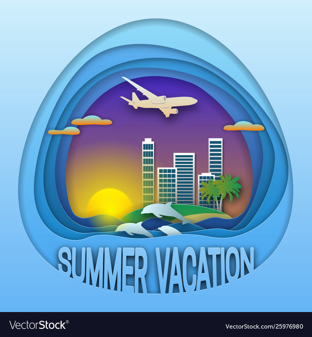 Summer vacation logo template sunset with resort