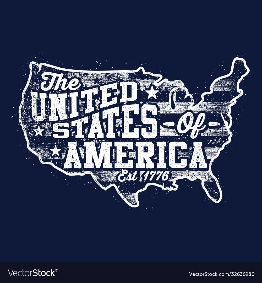 Typography map - united states america