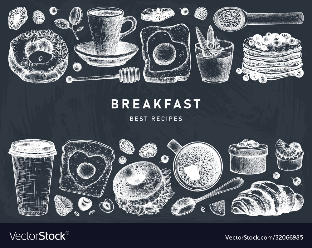 Breakfast dishes collection on chalk board
