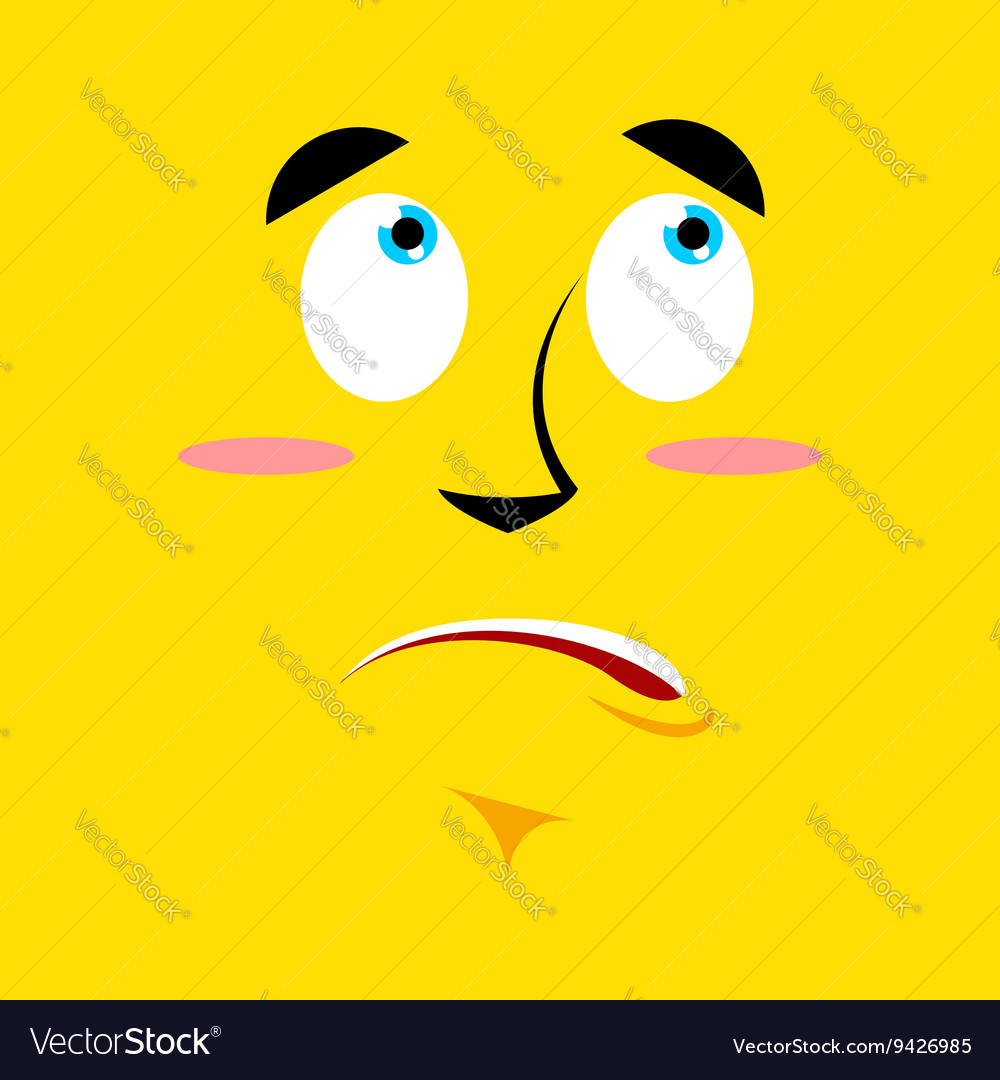 Cartoon surprised face on yellow background