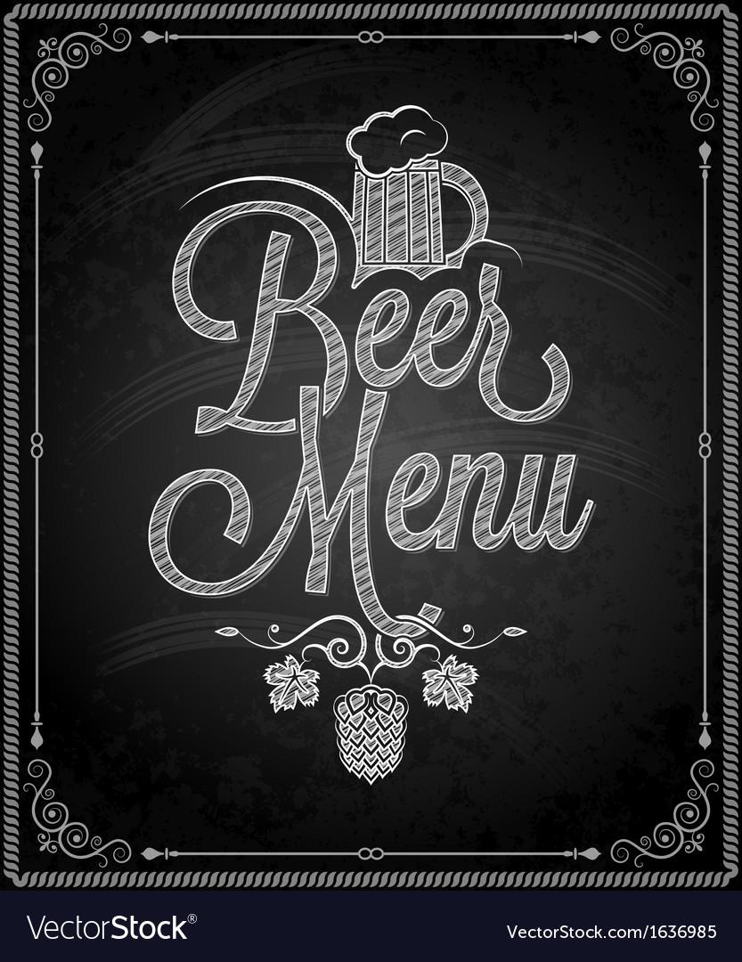 Chalkboard beer vector image