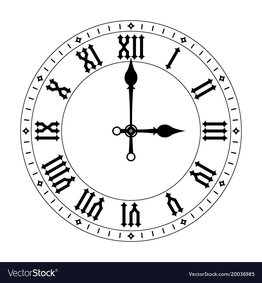 clock black clock face with roman numerals vector image