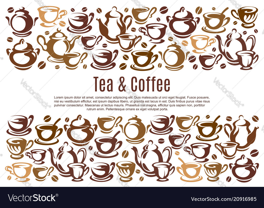 Coffee poster with cups and kettles