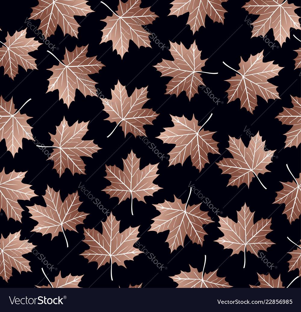 Copper maple leaf seamless pattern backgroud