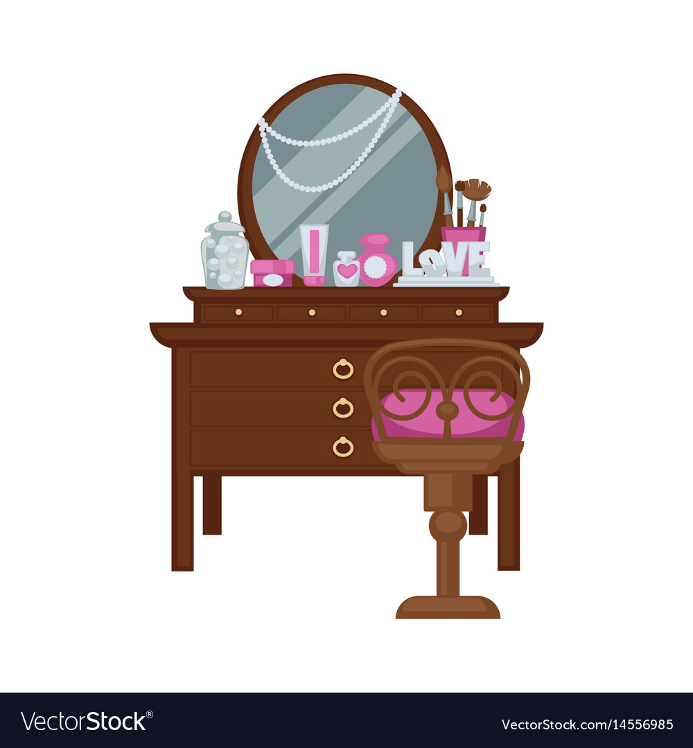 Dressing table with woman accessories and chair
