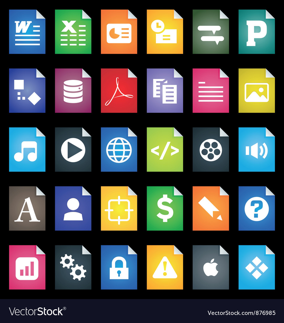 File Types Icons vector image