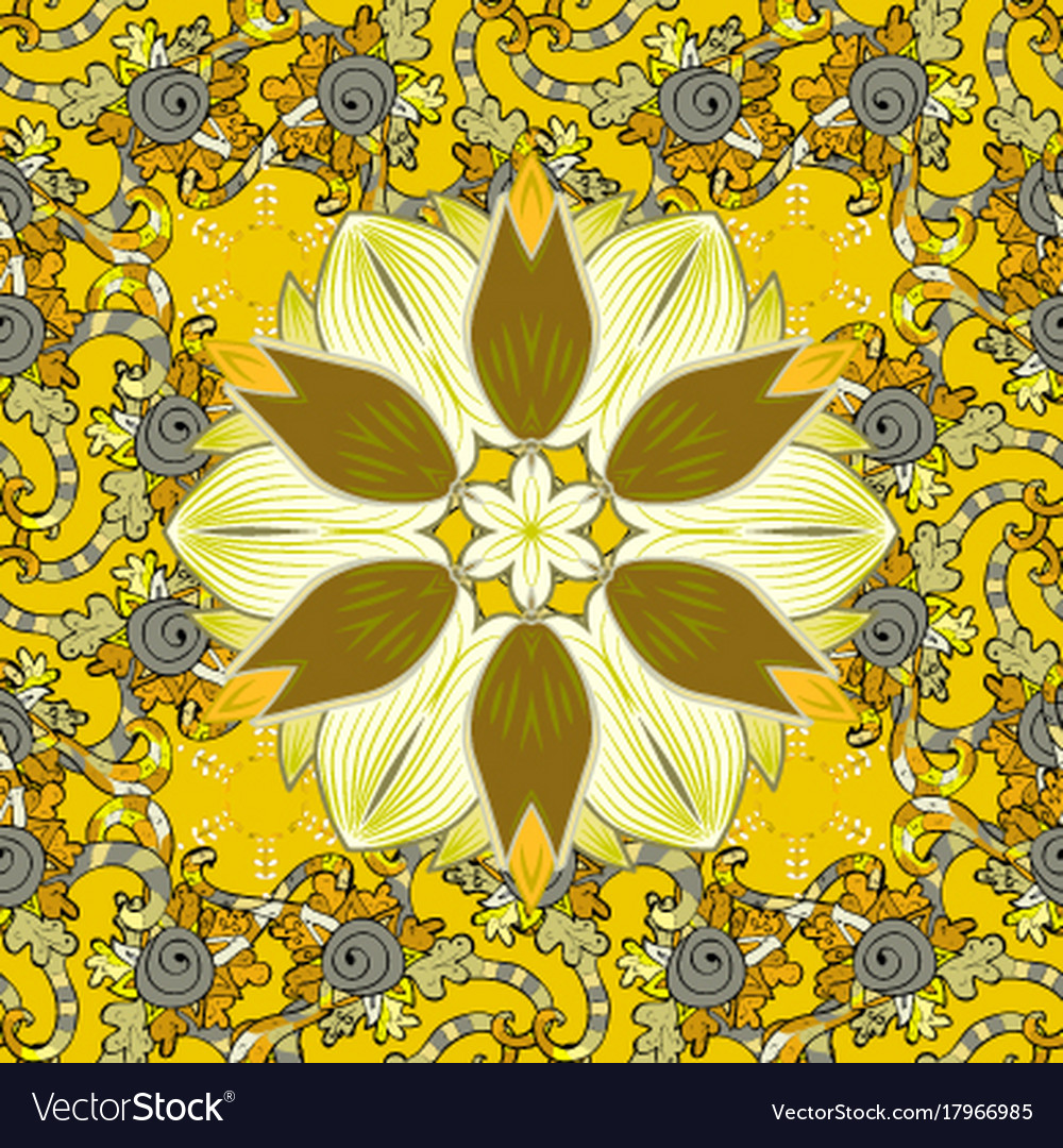 Flowers On Yellow Neutral And Black Colors Fabric Vector Image
