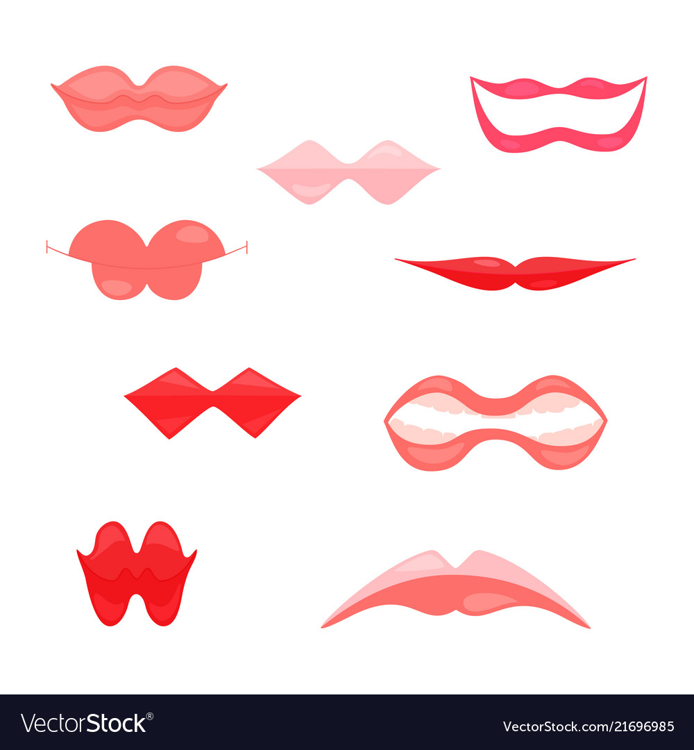 Fun womens lips icons isolated on white