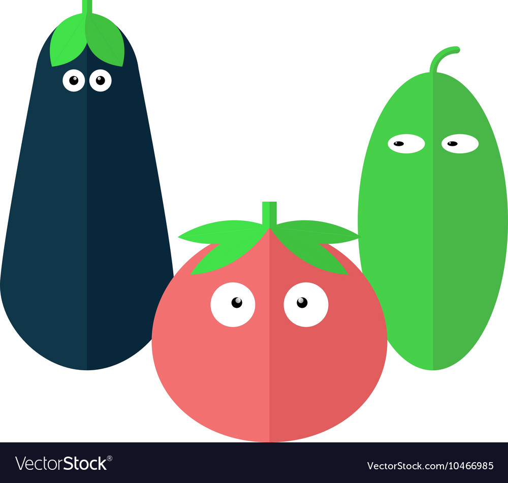 Funny vegetables in flat style