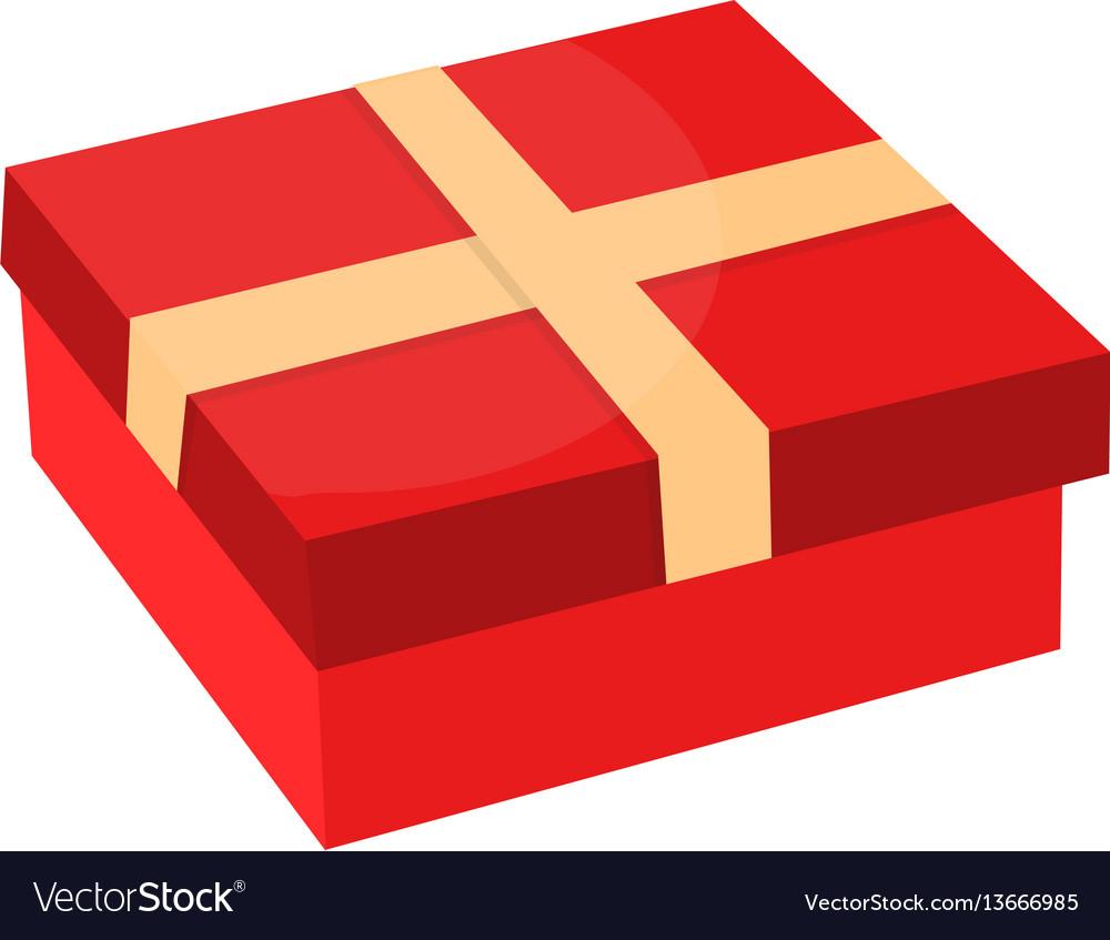 Gift box with ribbon flat design