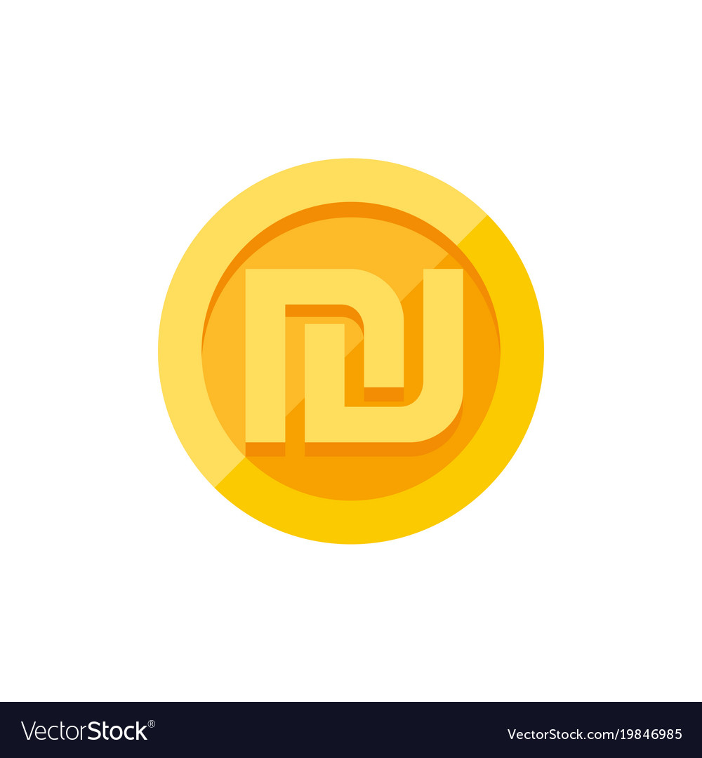 Israeli Shekel Symbol On Gold Coin Flat Style Vector Image