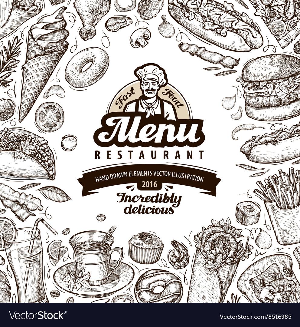 Menu restaurant cafe template design hand drawn