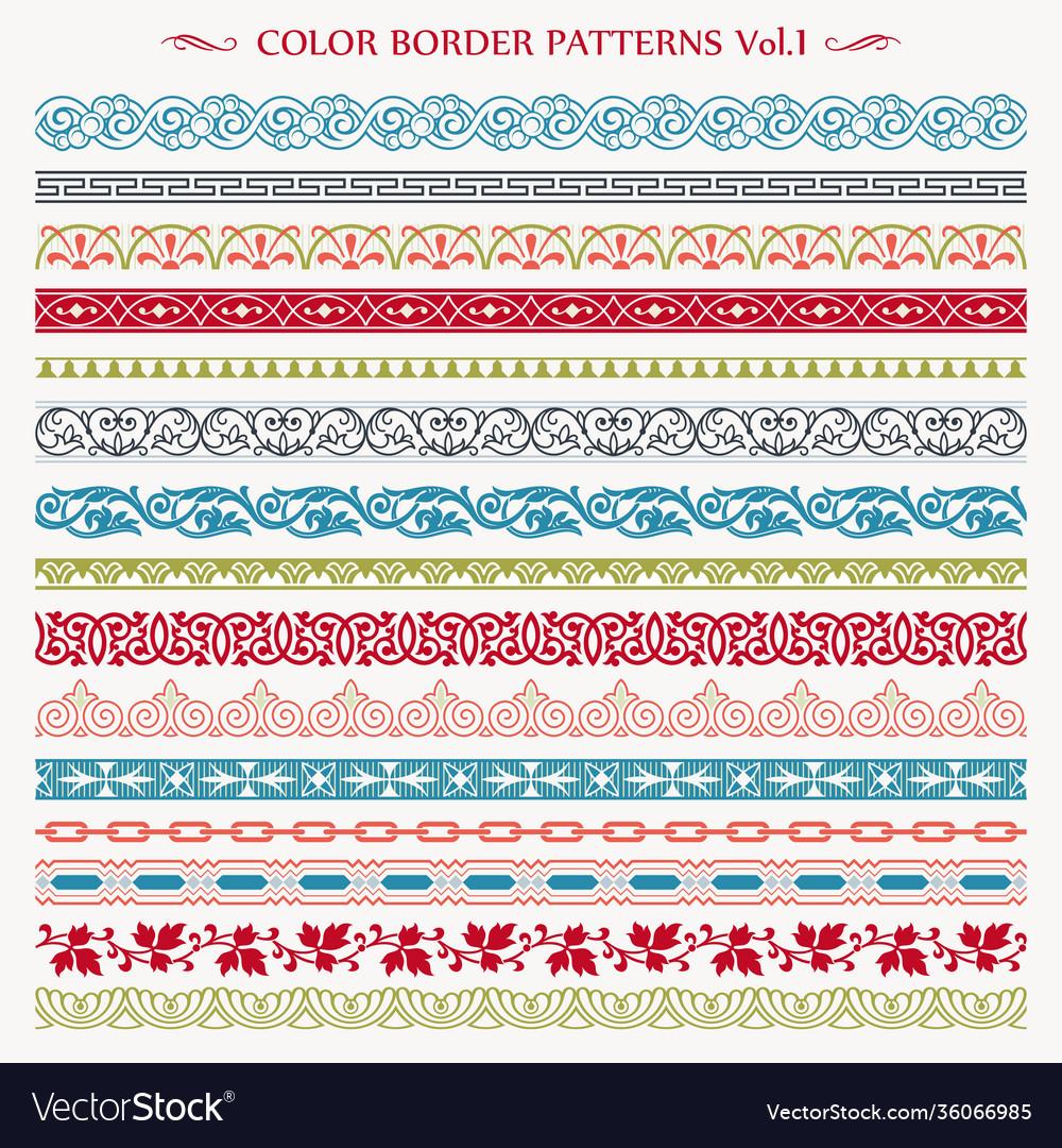 Ornamental border frame vintage color patterns