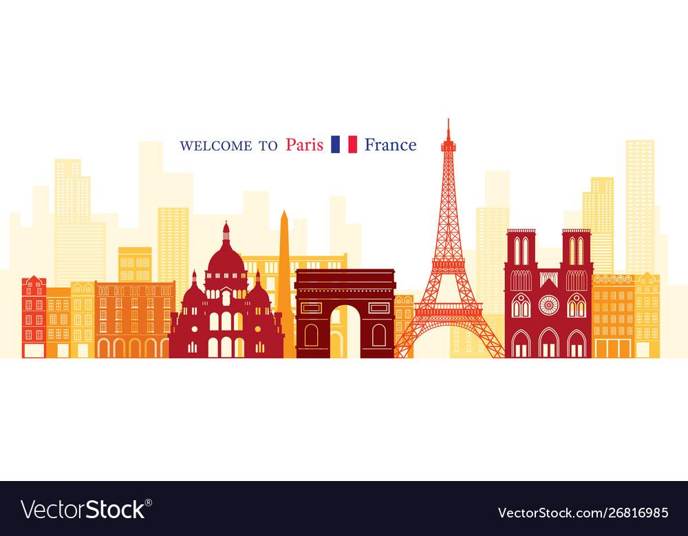 Paris france landmarks skyline shape and