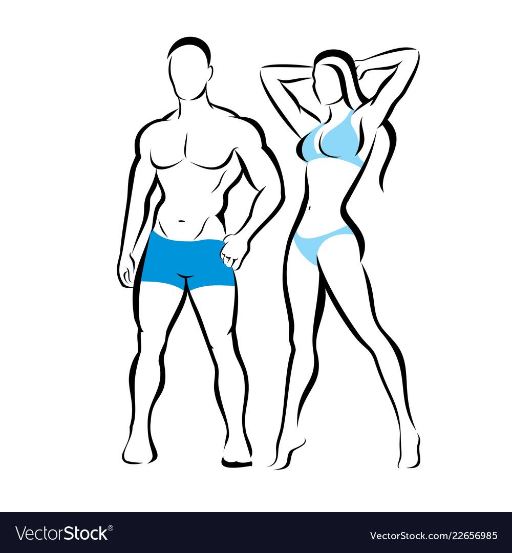 Perfect body of man and woman silhouette fitness