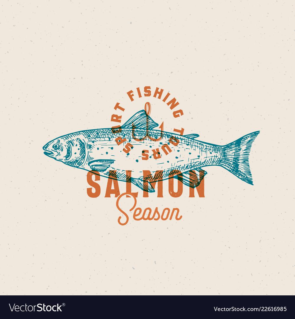 Salmon fishing season abstract sign