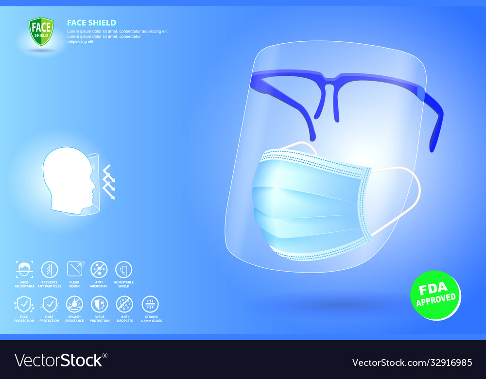 Set face shield medical protection or portable