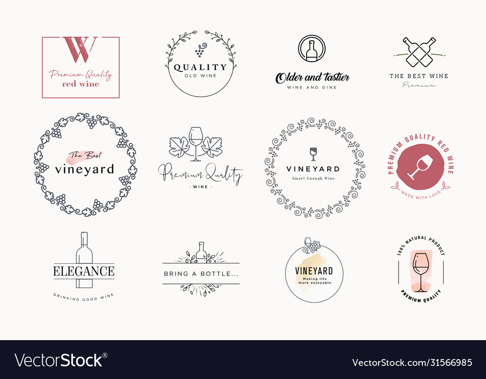 Set labels and stickers for wine
