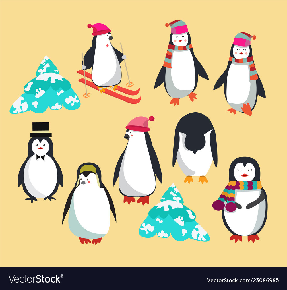 Set with cute penguins character