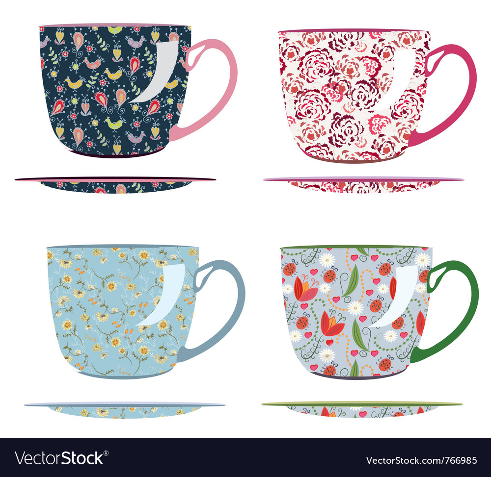 Tea cup drawing vector image