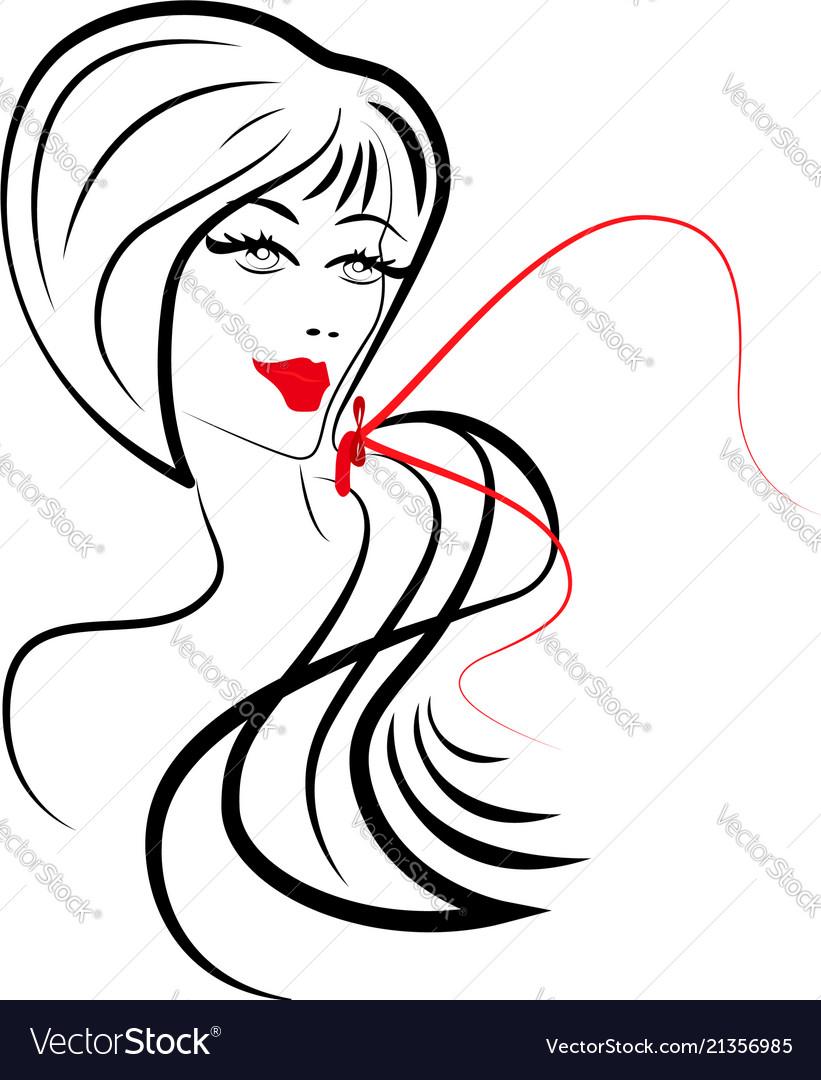 Women long hair style icon women on white