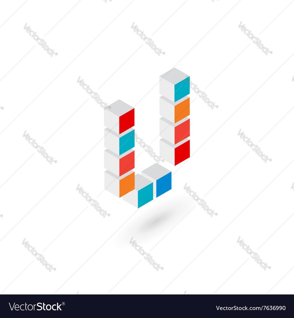 3d cube letter U logo icon design template