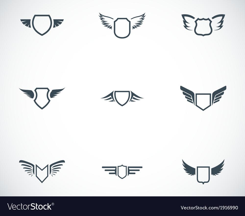 Black shield icons set