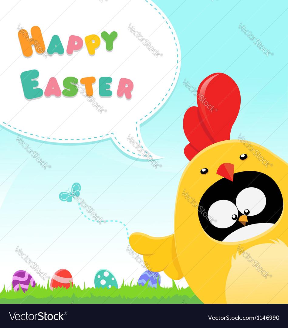 Chicken Costumed Penguin Easter Message