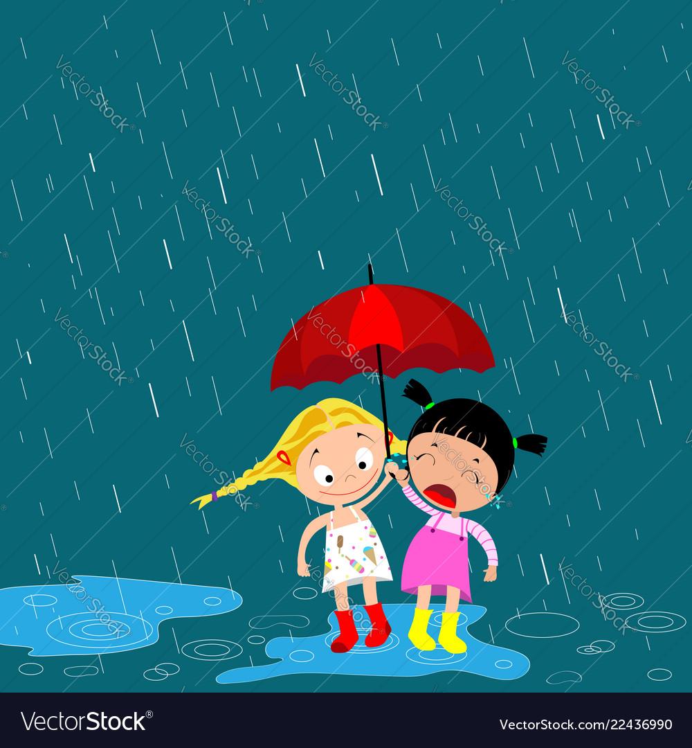 Children under an umbrella in the rain