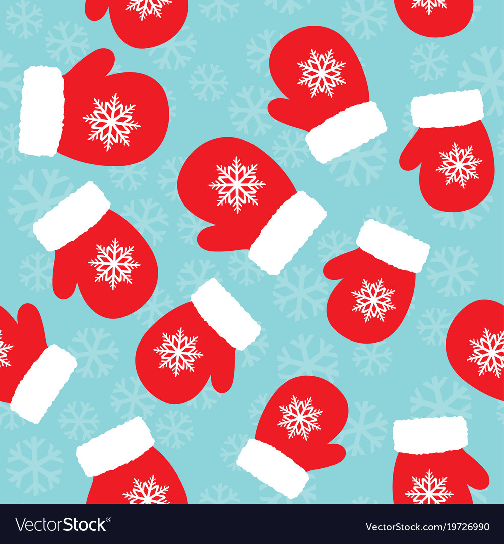 christmas pattern with mittens vector image - Christmas Mittens