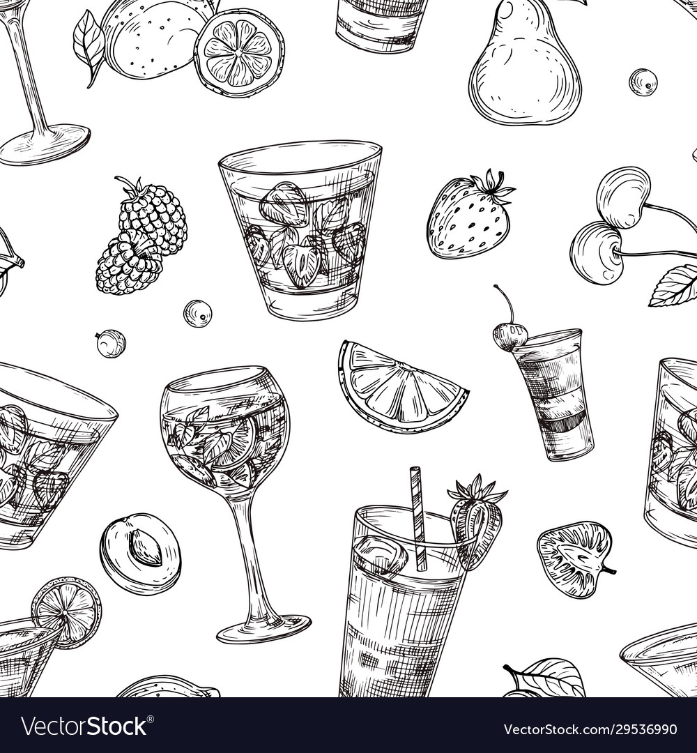 Cocktails pattern sketch drinks and fruits