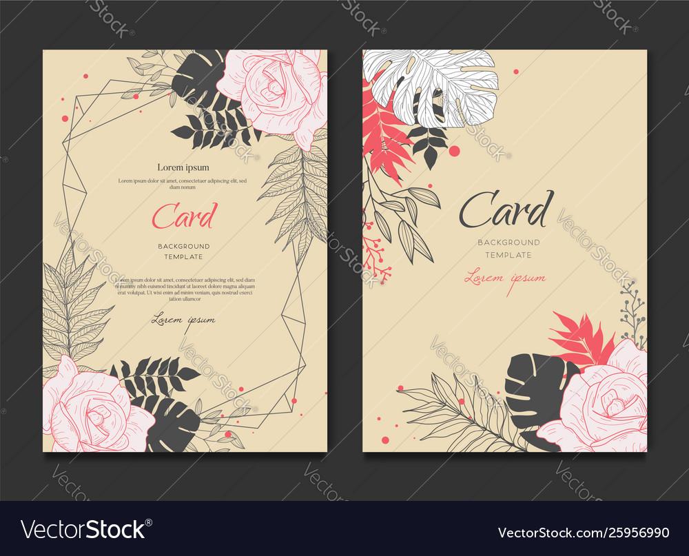 Floral frame card wedding invitation