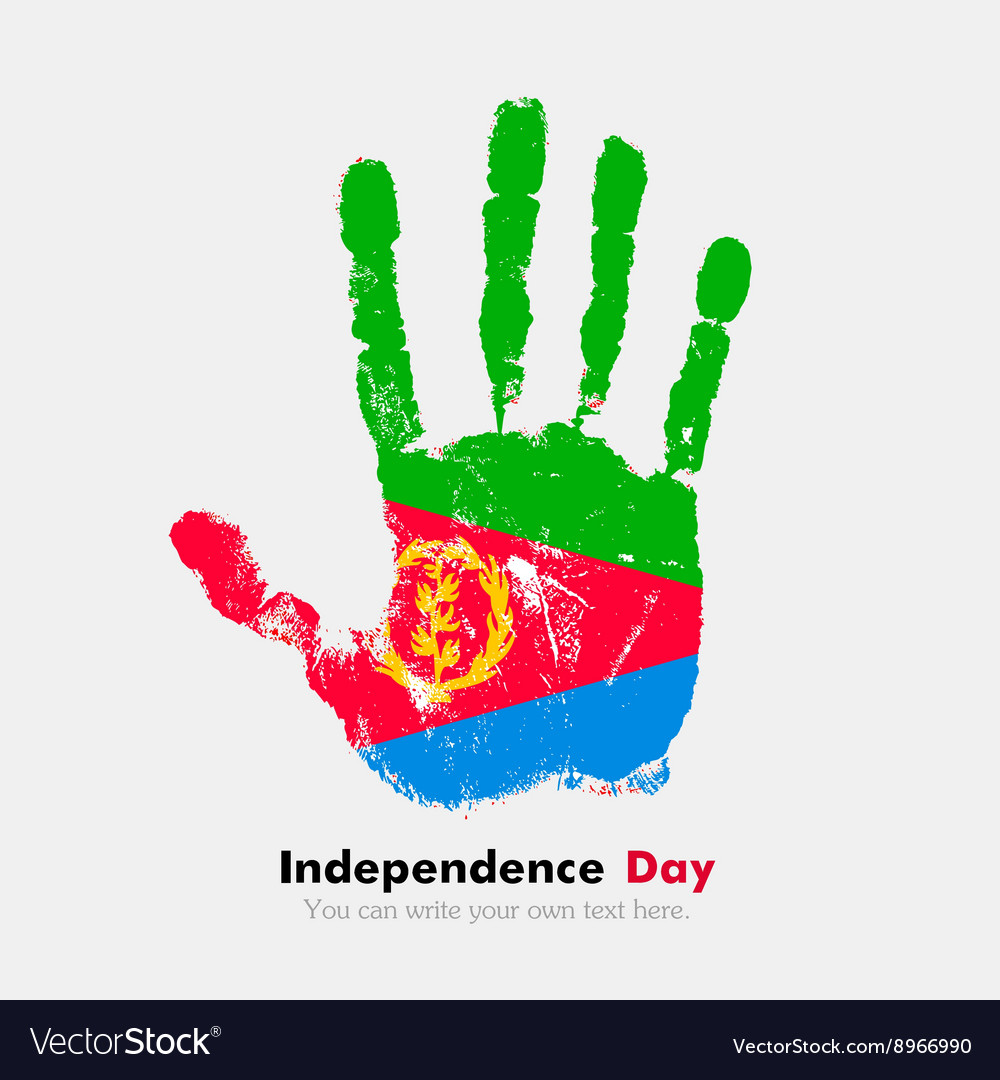 Handprint with the Flag of Eritrea in grunge style