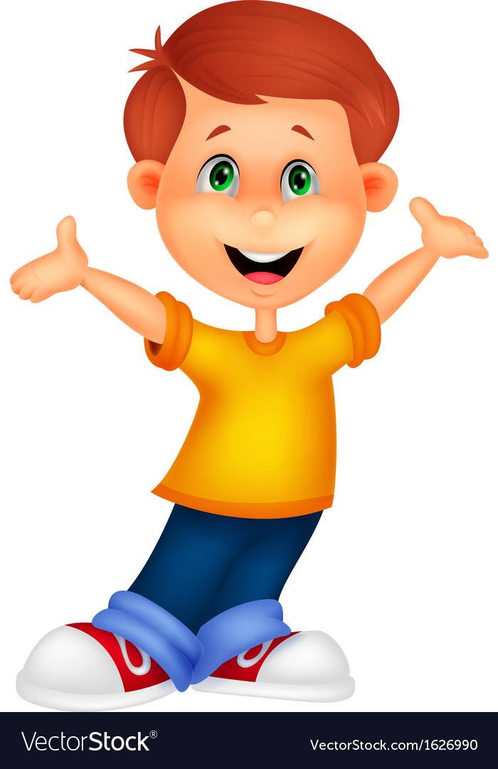Happy boy cartoon posing Royalty Free Vector Image