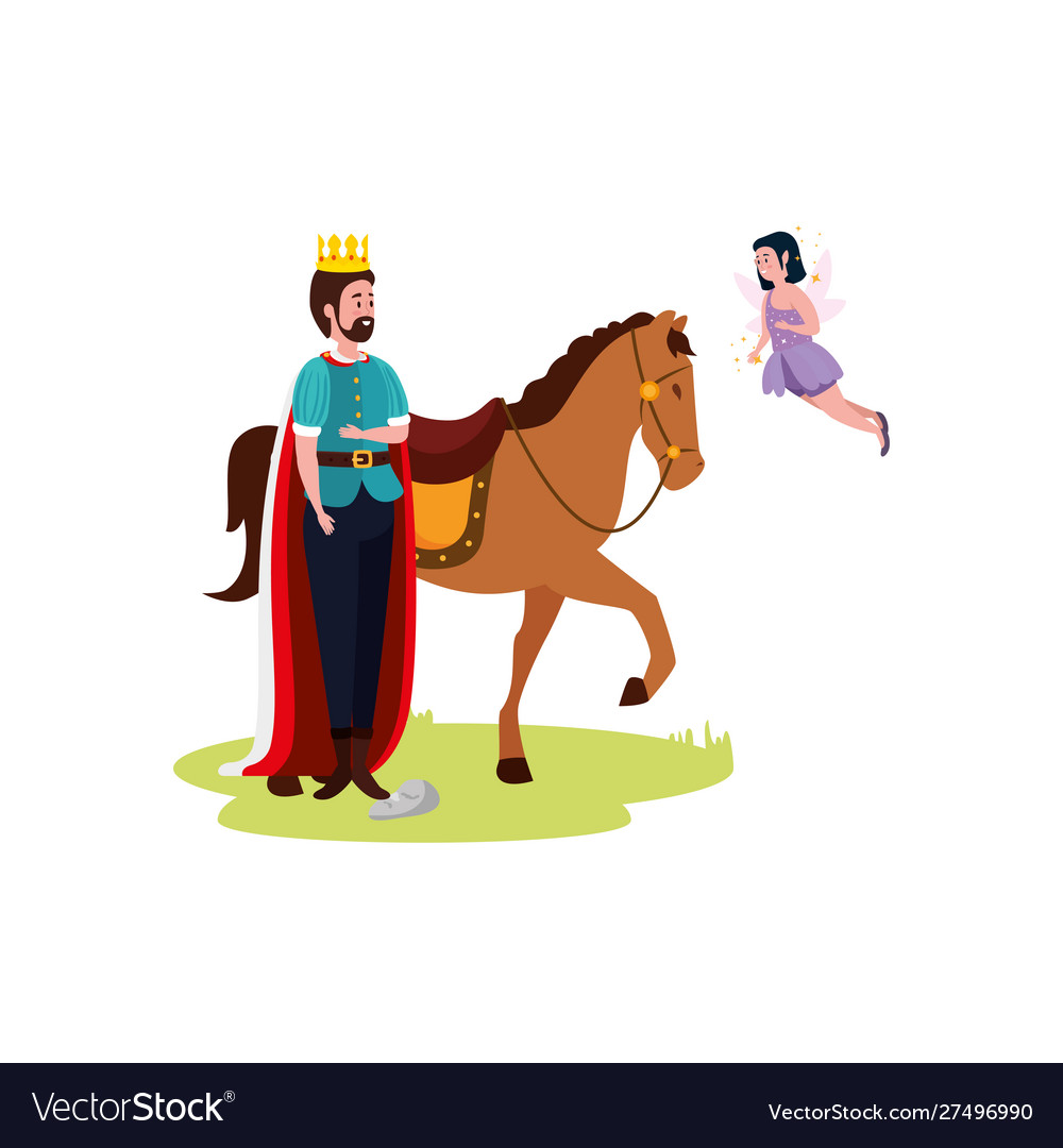 King With Horse And Fairy Flying Royalty Free Vector Image
