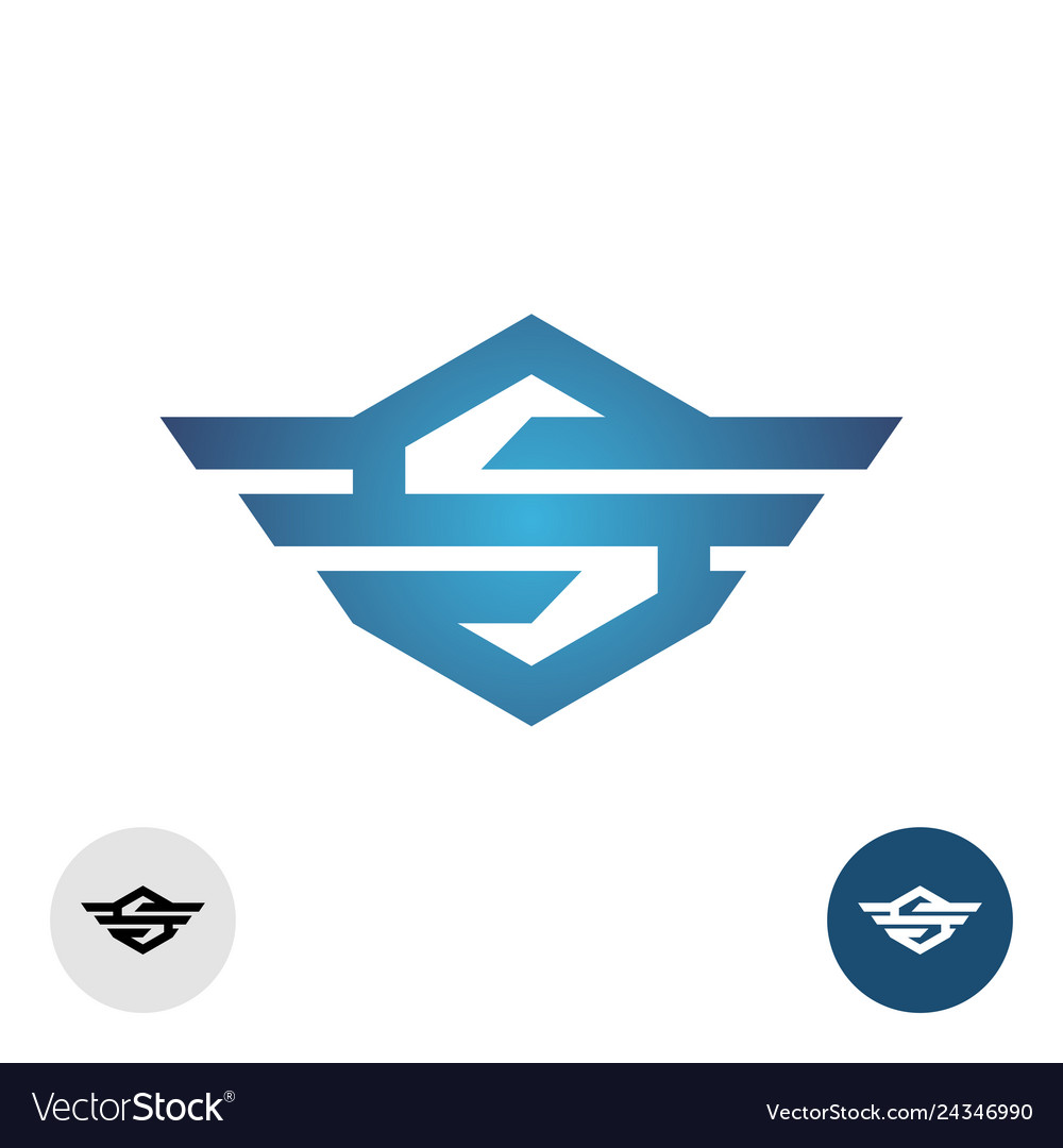 Letter s with wings tech style logo hexagon sign