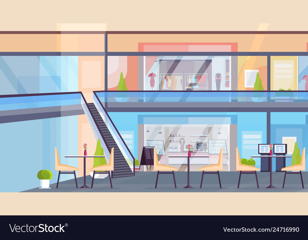 Modern retail shopping mall with clothes boutique