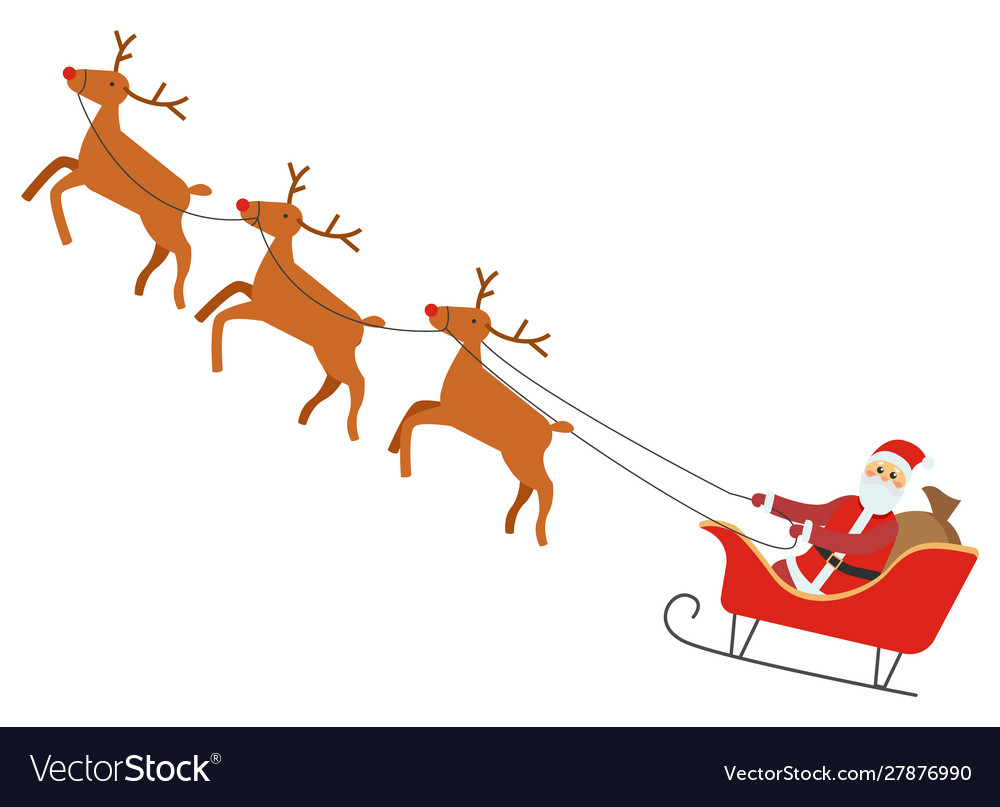 Santa claus riding carriage with reindeers