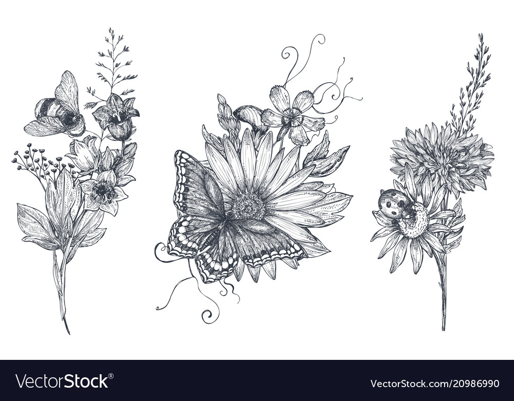 Set of three floral bouquets with black and