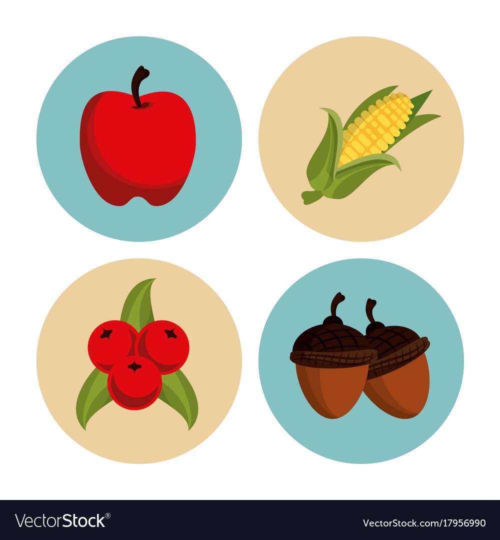 Thanksgiving round icons set