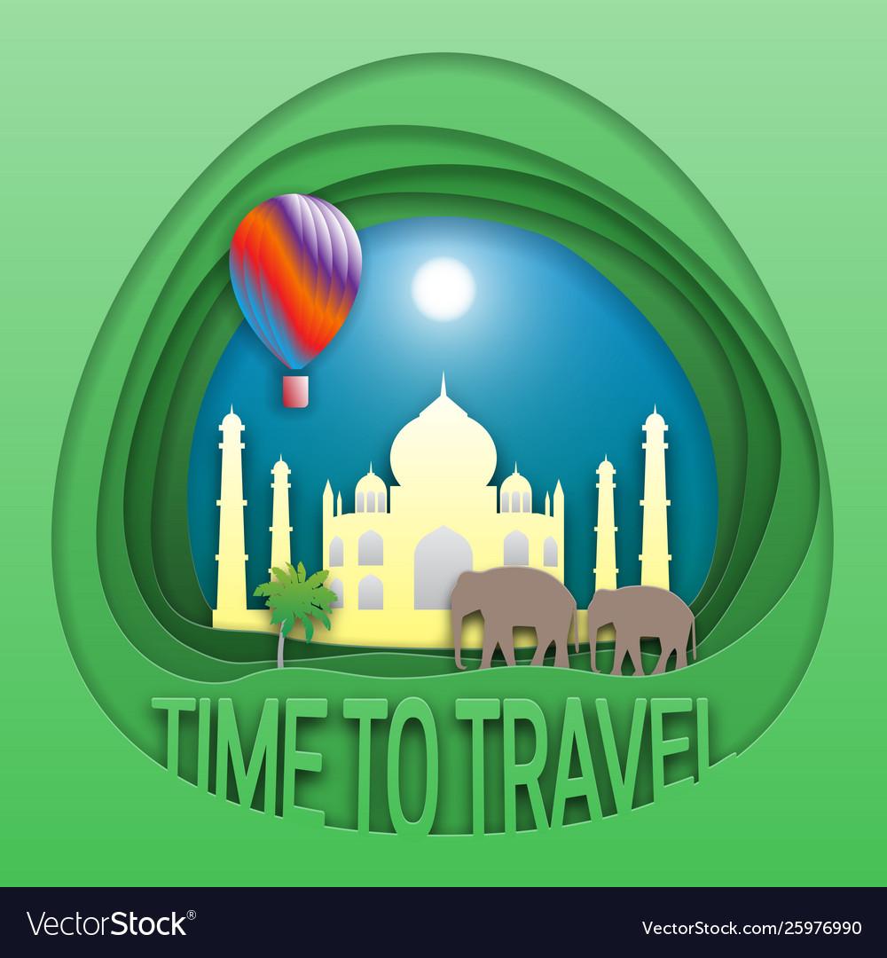 Time to travel emblem template taj mahal
