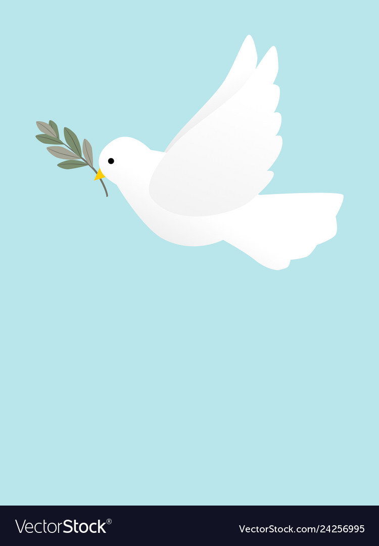 A flying peace dove with olive branch