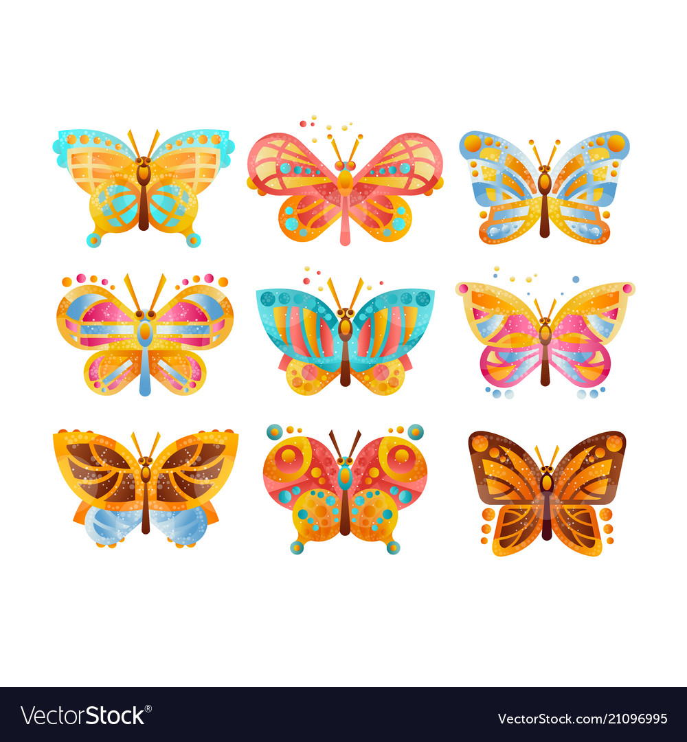 Beautiful colorful butterflies set