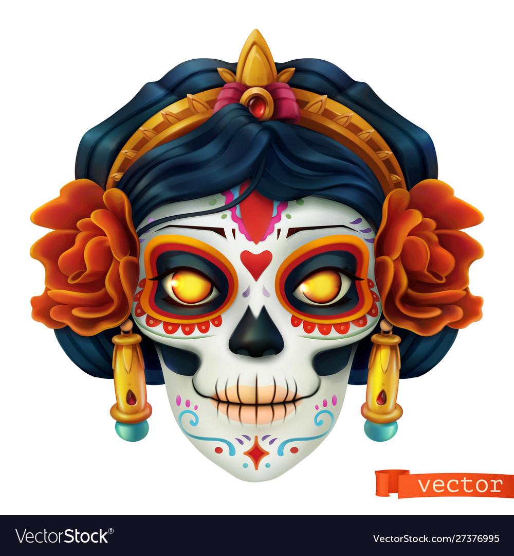 Day dead dia de los muertos skull woman 3d