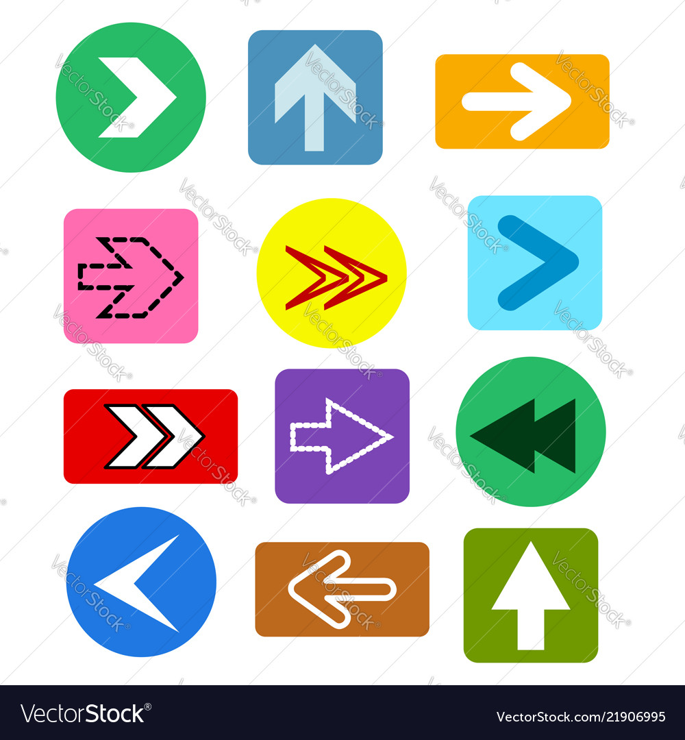 Different arrows buttons icons set abstract