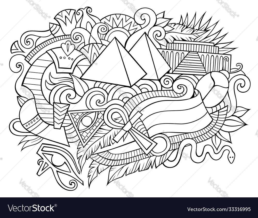 Egypt hand drawn cartoon doodles