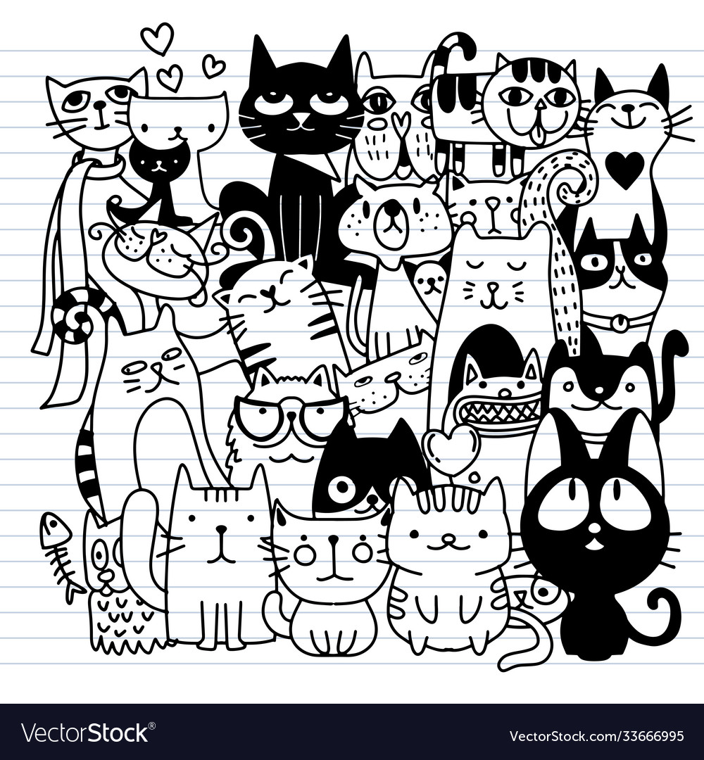 Funny hand drawn cats animals with adorable