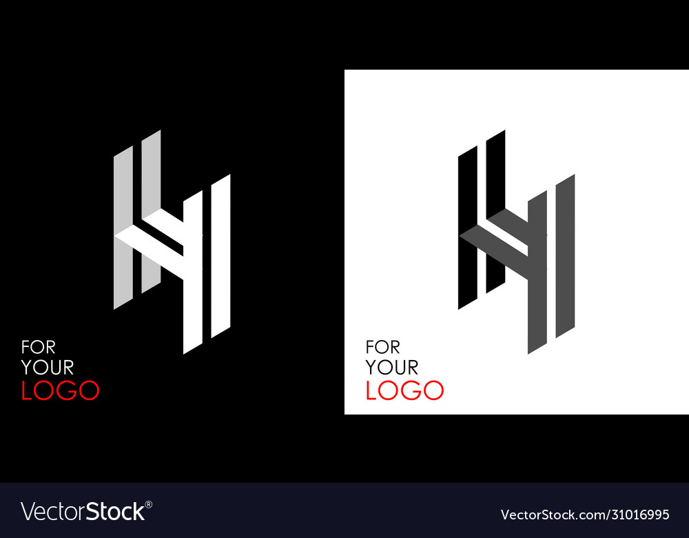 Isometric letter h from stripes lines template