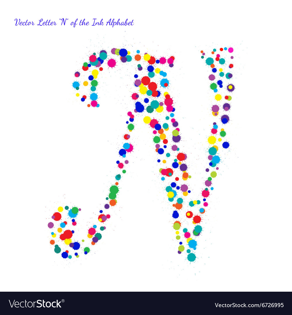Letter N from Bright Color Ink Blots with