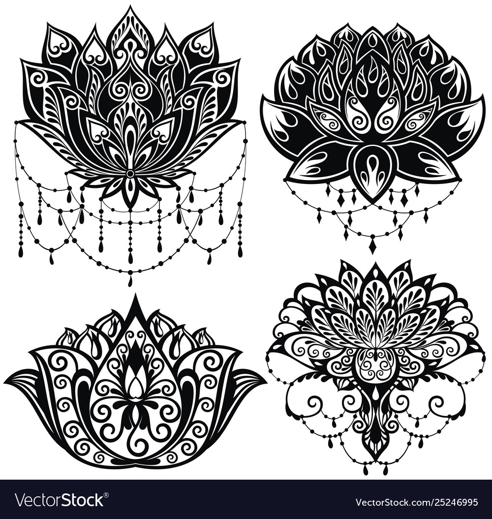 Lotus flowers silhouettes